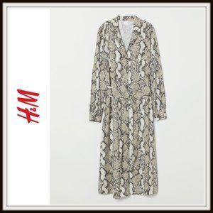 H&M V-Neck Button Down Snakeskin Midi Dress
